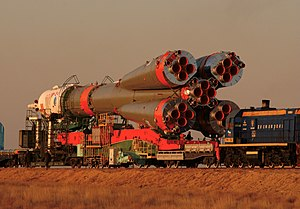 Soyuz tma-3 transported to launch pad