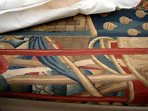 Conservation of a tapestry in the workshops of...