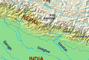 Map of the Ganges River from its origin in nor...