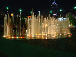 Fountain of Rings at night