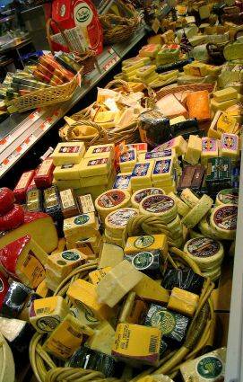 Many cheeses at the supermarket