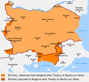 Bulgaria after Treatry of Neuilly-sur-Seine, 1919