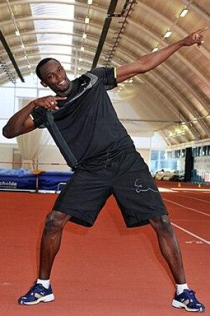 Sprinting legend Usain Bolt pictured in Brunel...