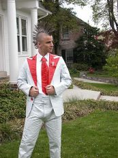 English: A Tuxedo made out of duct tape. This ...
