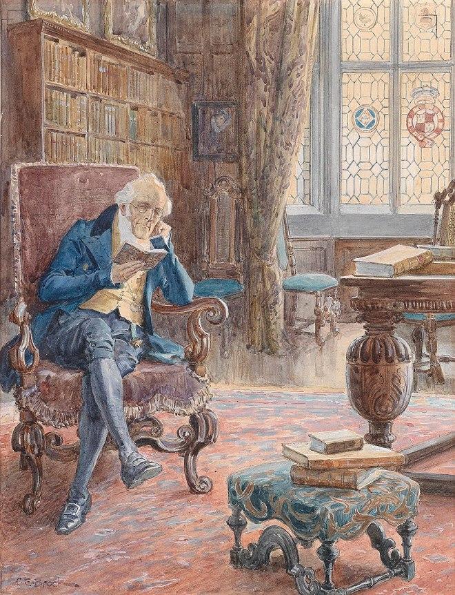 Charles Edward Brock Bibliothek mit Lesendem
