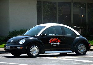 A Geek Squad Volkswagen New Beetle specially p...