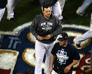 English: Joba Chamberlain after the game of th...