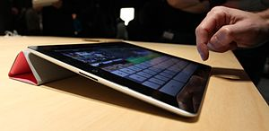 iPad 2 with Smart Cover running iMovie.