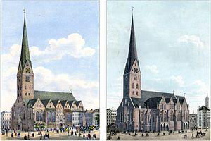 Church of St. Petri, Hamburg. On the left befo...