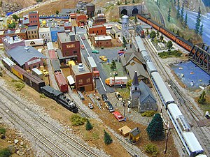 Part of an H0 scale model railroad layout