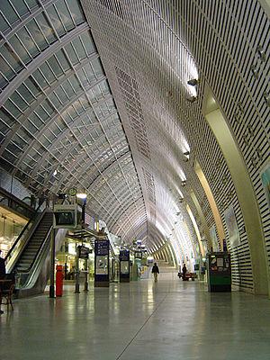 A photo of Avignon-TGV railway station.