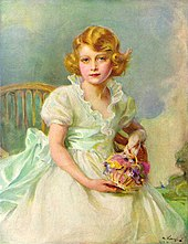 Elizabeth as a rosy-cheeked young girl with blue eyes and fair hair