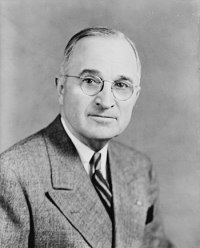 Harry S. Truman, President of the USA in 1945.