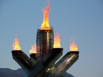 Close up of the Olympic flame