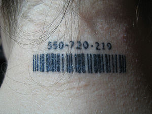 "Barcode tattoo with ""TSR"" number bas..."