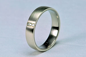 mildly convex wedding ring, inside titanium, o...