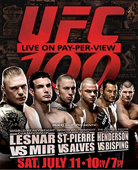 A poster or logo for UFC 100.