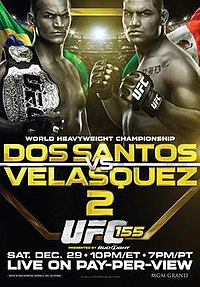 A poster or logo for UFC 155: Dos Santos vs. Velasquez II.