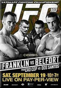 A poster or logo for UFC 103: Franklin vs. Belfort.