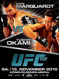 A poster or logo for UFC 122: Marquardt vs. Okami.