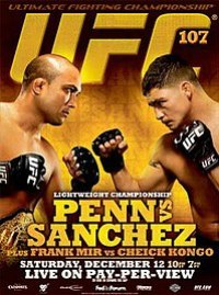 A poster or logo for UFC 107: Penn vs. Sanchez.