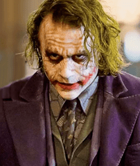 The Joker's scruffy and grungy make-up reflect...