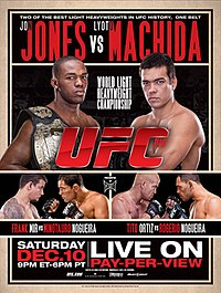 A poster or logo for UFC 140: Jones vs. Machida.