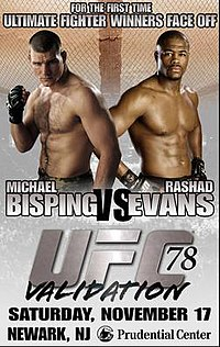 A poster or logo for UFC 78: Validation.