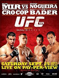 A poster or logo for UFC 119: Mir vs. Cro Cop.