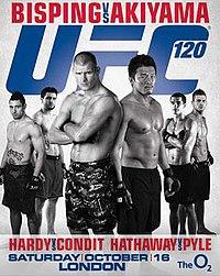 A poster or logo for UFC 120: Bisping vs. Akiyama.