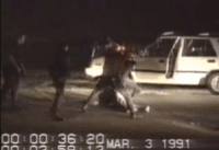 Screenshot of footage of King beaten by LAPD o...