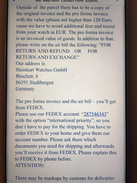 Purchase  Return  Exchange experience direct from Steinhart So she had to call FedEx and luckily it hadn t left yet  She rushed over   took the package back and then spent the time to follow these extra  requirements