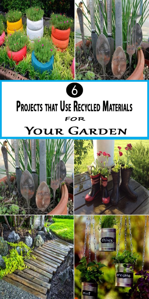 6 projects that use recycled materials for your garden for Garden ideas using recycled materials