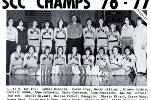 Jean Berger (first row, second from right), formerly Jean Hendricks, made it to the state championship with the 1977 Winterset High School girls' basketball team. Berger is now the Executive Director of the Iowa Girls High School Athletic Union. Photo submitted by Jean Berger.