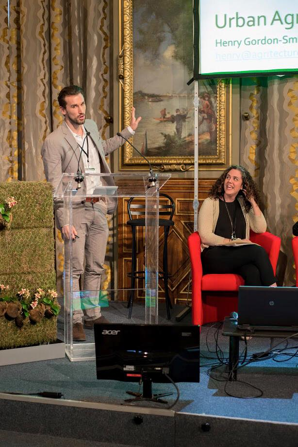 Henry speaking on urban agriculture in NYC to the City of Paris at their Du Verte a Tous Les Etages conference in May 2015.