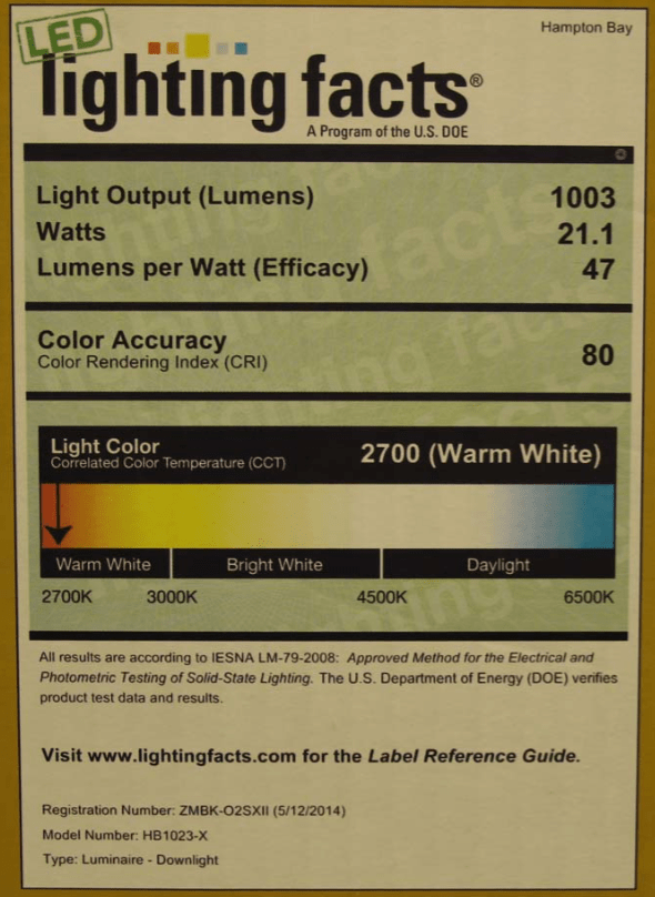 Example of a Lighting Facts label created by U.S. Department of Energy that includes information about LED lamp operating characteristics for visible light applications.