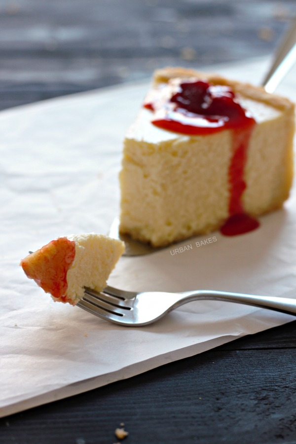 Classic New York Style Cheesecake with Strawberry Topping | URBAN ...