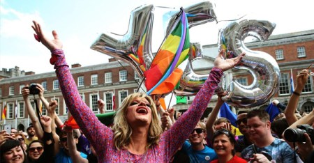 Drag queen and gay-rights activist Rory O'Neill, known by his stage name Panti Bliss, arrives at the central count center at Dublin Castle, in Dublin on May 23, 2015 (Brian Lawless; PA Wire/Press Association Images)