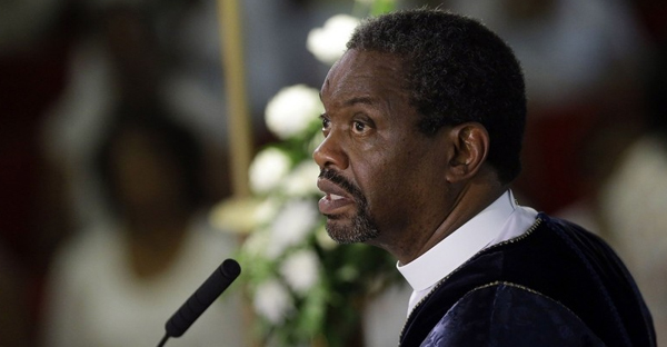 The Rev. Norvel Goff speaks June 21 during a prayer service at the Emanuel A.M.E. Church in Charleston, S.C., four days after a mass shooting that claimed the lives of its pastor and eight others. (File/AP)