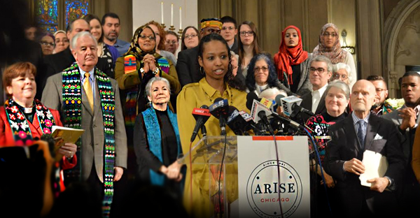 Larycia Hawkins speaks at a press conference on Wednesday, January 6, 2016. (Manny Diaz Courtesy of Arise Chicago)