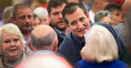 Republican presidential candidate Sen. Ted Cruz (R-TX) greets guests after arriving for a speech at the 2016 South Carolina Tea Party Coalition Convention on January 16, 2016 in Myrtle Beach, South Carolina. (Scott Olson/Getty Images North America)