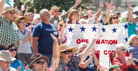 Members of the crowd cheer during a Christian conservatives rally in Nashville in September 2015. (Erik Schelzig / AP)