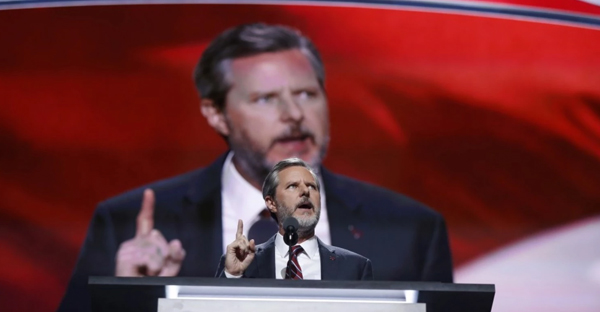 Jerry Falwell Jr., president of Liberty University, speaks during the final day of the Republican National Convention in Cleveland, Thursday, July 21, 2016. (AP Photo/Carolyn Kaster)