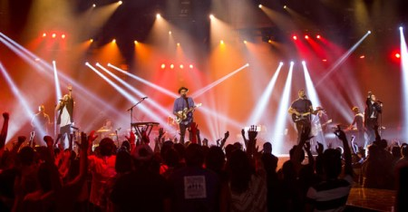 """Evangelical entertainment: A scene from Michael John Warren's """"Hillsong — Let Hope Rise."""" (Credit: Colin Young Wolff/Pure Flix Entertainment)"""