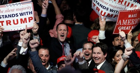 Supporters celebrate as returns come in for Republican U.S. presidential nominee Donald Trump during an election night rally in Manhattan, on November 9, 2016. (Photo coutesy of Reuters/Mike Segar)
