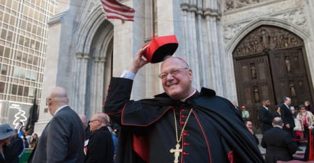 Cardinal Timothy Dolan participates in the annual Columbus Day Parade on October 10, 2016 in New York City. This is the 72nd Columbus Day Parade held in New York City. (Stephanie Keith/Getty Images North America)