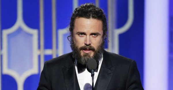 "In this handout photo provided by NBCUniversal, Casey Affleck accepts the award for Best Actor in a Motion Picture - Drama for his role in ""Manchester by the Sea"" onstage during the 74th Annual Golden Globe Awards at The Beverly Hilton Hotel on January 8, 2017 in Beverly Hills, California. (Handout/Getty Images North America)"