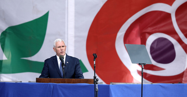 U.S. Vice President Mike Pence addresses a rally on the National Mall before the start of the 44th annual March for Life January 27, 2017 in Washington, DC. The march is a gathering and protest against the United States Supreme Court's 1973 Roe v. Wade decision legalizing abortion. (Chip Somodevilla/Getty Images North America)