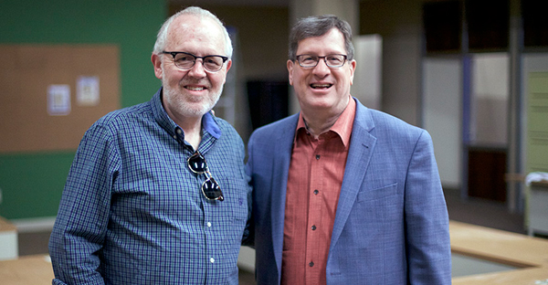 "Best-selling author, Lee Strobel, right, and writer, Brian Bird on set of ""The Case for Christ,"" coming to theaters April 7, 2017. (Photo courtesy of Pure Flix Entertainment)"