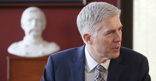 Supreme Court nominee Judge Neil Gorsuch meets with Sen. Angus King (I-ME) in his office on Capitol Hill March 1, 2017 in Washington, DC. President Donald Trump nominated Judge Gorsuch to the Supreme Court to fill the seat that was left vacant with the death of Associate Justice Antonin Scalia in February 2016. (Mark Wilson/Getty Images North America)